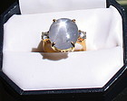 Art Deco 18K gold star sapphire diamond ring