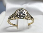 Antique Edwardian 14k gold diamond engagement ring