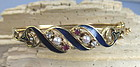 Antique 14k gold enamel bracelet rubies diamonds pearls