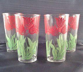 Hazel Atlas Tulip Tumblers Set of 4