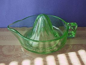 Sunkist Green Reamer By McKee Glass