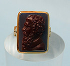 14K Gold Victorian Mourning, Cameo Ring