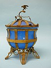 Palais Royal Opaline French Blue Glass Covered Pot