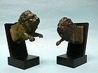 Pair of Roman Bronze Protomes of a Lion