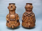 Shipibo Pottery Figural Vessels of a Man and Woman