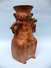 Rare 16th Century Ayacucho Pottery Llama and Twins