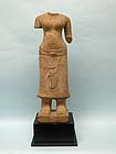 Khmer Stone Torso of Goddess Uma