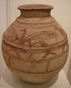 Large Persian Pottery Painted Avian Jar