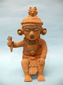 Jama Coaque Pottery Vessel, Man & Consort