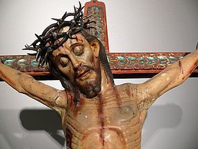 Monumental Colonial Cuzquena School Polychrome Wall Crucifix