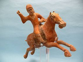 Tang Dynasty Pottery Polo Player, T.L. Tested