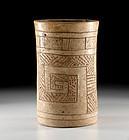 Maya Creamware Cylinder with Hierglyphics