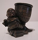 Japanese Edo Period Bronze Inkwell, Figure with Bell