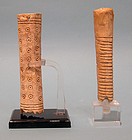 Two Roman Bone Handles with Geometric Pattern