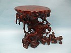 Qing Dynasty Carved Boxwood Root Stand