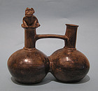 Chimu - Inca Pottery Double Bodied Whistling Vessel