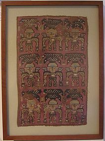 Chimu Textile Panel with Nine Warrior Figures