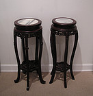 Qing Dynasty Wooden Stands or Tables with Marble Top