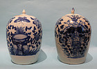 Two Qing Dynasty Porcelain Mellon Vases