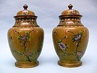 PAIR: Chinese Cloisonne Lidded Vases