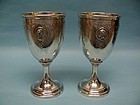 PAIR: S&M Sterling Silver Medallion Water Goblets