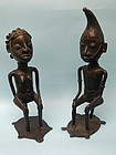 West African Bronze Couple on Turtle Chairs