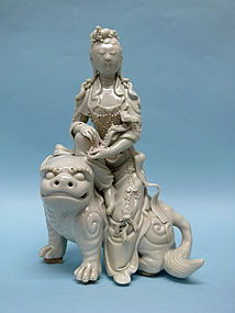 Qing Dynasty Blanc de Chine Porcelain Guan Yin riding Dragon