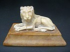 19th Century English Carved Stone Lion on Marble Base