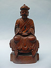 Sino Tibetan Wooden Figure of a Lama