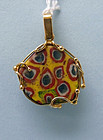 Egyptian Glass Pendant with 18K Gold Contemporary Setting