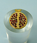 Handmade Pomegranate Gold Filled Pendant with Garnet Seeds