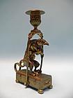 Victorian Brass Chamberstick with Vulture / Money motif