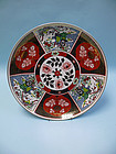 Vintage Japanese Imari Porcelain Charger with Rickshaw, Peafowl motif