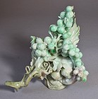 Fine White/Apple Green Jadeite Carved Cluster of Grapes