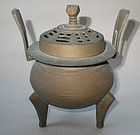 A Fine Brass Tri-pod Incense Burner with Cover
