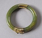Very Fine Spinach Jade Bangle Bracelet /14K Gold Clasp