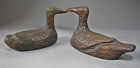 Very Fine/Rare Pair of Papier Marche Wedding Ducks