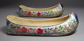 Pair of Very Rare/Fine Lady�s Embroidered Flower Shoes