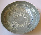Rare Inlaid Punchong Bowl with Celadon Glaze