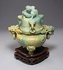 Fine Russet Celadon Green Carved Jade Tripot Censer