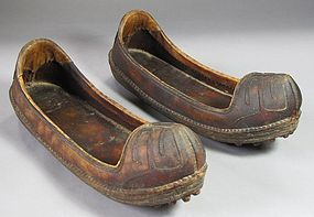 Pair of Very Fine Korean Antique Leather Shoes