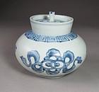 A Very Rare/Fine Blue/White Porcelain Covered Jarlet