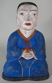 Fine/Rare Seated Polychome Painted Wood Dong-Ja Figure