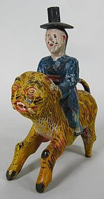 Very Rare/Fine/Pigments Painted Wood Carved Tiger/Man