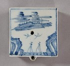 Blue and White Han River Painted Water Dropper-19th C.