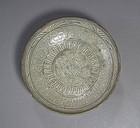 Rare/Fine Punchong Ware White Slip Inlaid Dish -16th C.