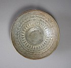 A Very Fine Punchong White Slip Inlaid Bowl-15th C.