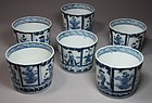 A Group of 6 Fine Japanese Blue/White Imari Soba Cups