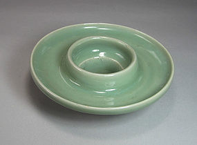 A Very Fine Chinese Celadon Glaze Open Cup-Stand-15th C