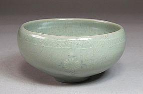 A Very Fine Inlaid Rich Greenish Blue Celadon Cup